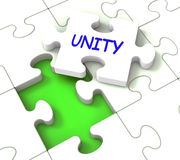 Unity Puzzle Shows Partner Team Teamwork Or Collaboration Royalty Free Stock Photography