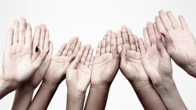 Unity and relations in society. many raised hands in a row. Hand gestures between people. Unity and relations in society.. many raised hands in a row royalty free stock photos