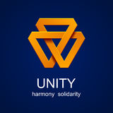 Unity triangle orange icon Stock Photo