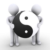 Unity between two people. Two 3d people are holding a yin and yang symbol Royalty Free Stock Images