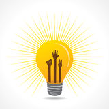 Unity,victory and helping hand are inside the bulb Royalty Free Stock Images