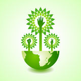 Unity ,victory and helping hand make tree on earth Royalty Free Stock Image