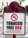 univ van de Tekens van Zuidencarolina campus tobacco free school Royalty-vrije Stock Foto's