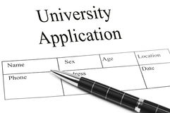 Univeristy Application Stock Image