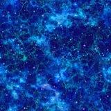 Univers bleu abstrait Ciel étoilé de nuit de nébuleuse Espace extra-atmosphérique brillant Fond galactique éclatant de texture Ve Images stock