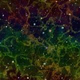 Univers coloré éclatant abstrait Ciel étoilé de nuit de nébuleuse d'arc-en-ciel Espace extra-atmosphérique multicolore Fond sans  illustration libre de droits