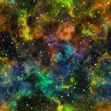 Univers coloré abstrait, ciel étoilé de nuit multicolore de nébuleuse, espace extra-atmosphérique brillant, fond galactique sans  illustration stock