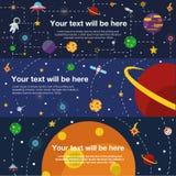 Univers plat de l'espace de bannière de Web Image stock