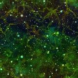 Univers vert-foncé abstrait Ciel étoilé de nuit de nébuleuse Espace extra-atmosphérique éclatant Fond de texture Vecteur sans joi illustration stock