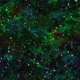 Univers vert-foncé abstrait Ciel étoilé de nuit nuageuse Espace extra-atmosphérique de nébuleuse éclatante Fond de texture Vecteu illustration stock