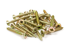 Universal anodized screws on a white background Royalty Free Stock Photos