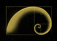 The Universal Architecture. The Golden Fibonacci Spiral in Space Stock Photos