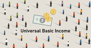 Free Universal Basic Income UBI Is Government Guarantee For Citizen Receives A Guaranteed Minimum Income. Stock Image - 178029711
