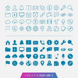 Universal Basic set 1. Trendy thin icons for web and mobile. Line and full versions Stock Image
