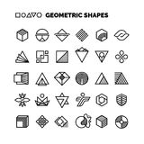 Universal black and white geometric vector shapes isolated for graphic design. Geometric element logo simple collection Royalty Free Stock Photos