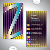 Universal business card with initials Z Royalty Free Stock Image