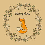 Universal card with branches and fox. Template. Congratulatory card, special event, invitation, birthday party. Vector illustration Royalty Free Stock Images