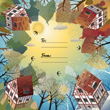 Universal card with four seasons. Universal card with European countryside. Four seasons. Template. Business card, special event, invitation. Vector stock illustration