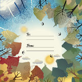 Universal card with four seasons. Template. Business card, special event, invitation. Vector illustration Stock Photo