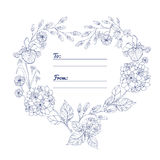 Universal card with hearts of flowers. Template. Wedding invitation, a special event. Vector illustration Royalty Free Stock Photo