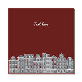 Universal card with old European style buildings. Amsterdam houses. Universal card with old European style buildings. Template. Business card, special event Stock Photography