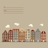 Universal card with old European style buildings. Amsterdam houses. Universal card with old European style buildings. Template. Business card, special event Royalty Free Stock Images