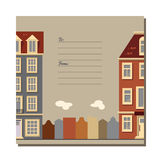 Universal card with old European style buildings. Amsterdam houses. Universal card with old European style buildings. Template. Business card, special event stock illustration