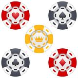 Universal casino chips with playing cards icons Royalty Free Stock Photo