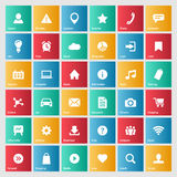 Universal colorful web icons set for internet. Or mobile aplications. Basic symbols illustrations with meanings royalty free illustration