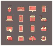 Computer and mobile devices. Universal computer icon set. Smartphones, computers, laptops and other network and mobile devices. Vector linear icons Stock Images