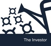 Simple vector monotone illustration on a white background on investment theme Royalty Free Stock Photo