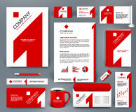 Universal corporate identity template wiith red number one on white backdrop. Professional universal branding design kit with red number one on white backdrop Stock Images