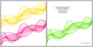Universal Covers Design with Green, Pink, Yellow Wave Lines on W Royalty Free Stock Photo