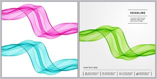 Universal Covers Design with Set Green, Blue, Pink of Wave Lines Royalty Free Stock Photo