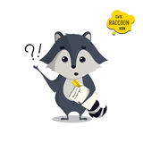 Universal cute raccoons set with family raccoon. Standing raccoon, happy, engineer, student, teacher, surprised, sad. Vector illustration for educational Royalty Free Stock Photo
