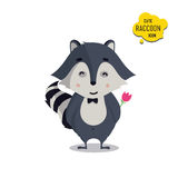 Universal cute raccoons set with family raccoon. Standing raccoon, happy, lover, amorous, in love, surprised, with flower. Vector illustration for educational Stock Photos