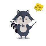Universal cute raccoons set with family raccoon Stock Photo