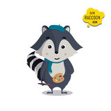 Universal cute raccoons set with family raccoon. Standing raccoon, happy, painter, artist, with cap, brush, paint. Vector illustration for educational Royalty Free Stock Image
