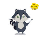 Universal cute raccoons set with family raccoon. Standing raccoon, surprised, sad. Vector illustration for educational applications, web icons Royalty Free Stock Photos