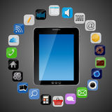 Universal design Tablet with app icons vector Stock Photography