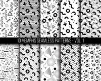 10 universal different geometric memphis seamless patterns. Black and white bright doodle endless vector texture can be used for wrapping wallpaper, pattern Royalty Free Stock Images