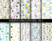 10 universal different geometric memphis seamless patterns. Colorful bright doodle endless vector texture can be used for wrapping wallpaper, pattern fills Stock Photography