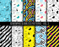10 universal different geometric memphis seamless patterns. Colorful bright doodle endless vector texture can be used for wrapping wallpaper, pattern fills Royalty Free Stock Image