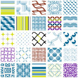 25 Universal different geometric seamless patterns, backgrounds collection. Endless texture set for , pattern fills, web page background,surface textures. Set Royalty Free Stock Photo