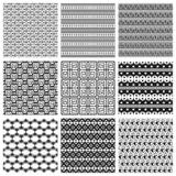 9 Universal different vector seamless patterns. Can be used for wallpaper, pattern fills, web page background,surface textures. Set of monochrome geometric royalty free illustration