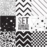 Universal different vector seamless patterns. Endless texture can be used for wallpaper, pattern fills, web page background,surface textures. Set of monochrome Stock Image