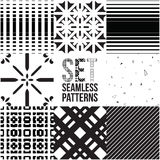Universal different vector seamless patterns. Endless texture can be used for wallpaper, pattern fills, web page background,surface textures. Set of monochrome royalty free illustration