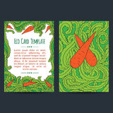 Universal Eco Carrots Greeting Card Templates. Set of two universal card template designs, perfect for eco,vegetarian, healthy food brochure covers, leaflets vector illustration