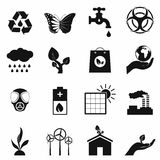 Universal ecology black icons set Royalty Free Stock Image