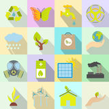 Universal ecology flat icons set Stock Photo